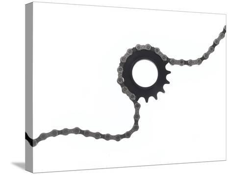 Close Up of a Bicycle Gear and Chain on White-Rebecca Hale-Stretched Canvas Print