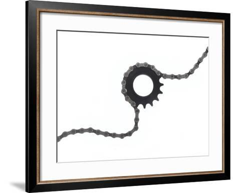 Close Up of a Bicycle Gear and Chain on White-Rebecca Hale-Framed Art Print