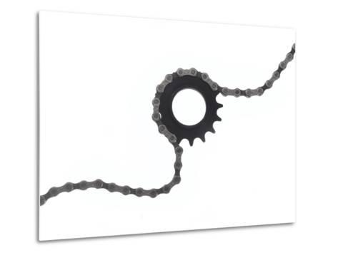 Close Up of a Bicycle Gear and Chain on White-Rebecca Hale-Metal Print