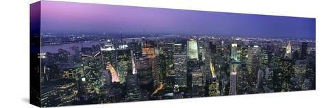 Aerial View of Midtown Manhattan Illuminated at Dusk-Design Pics Inc-Stretched Canvas Print