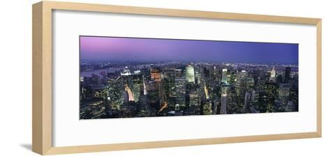 Aerial View of Midtown Manhattan Illuminated at Dusk-Design Pics Inc-Framed Art Print