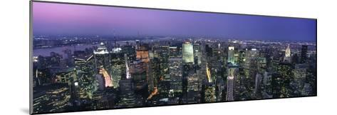 Aerial View of Midtown Manhattan Illuminated at Dusk-Design Pics Inc-Mounted Photographic Print