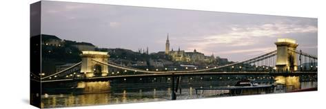 Chain Bridge, River Danube and Matyas Church at Dusk-Design Pics Inc-Stretched Canvas Print