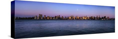 Moon over Midtown Manhattan Skyline at Dusk-Design Pics Inc-Stretched Canvas Print