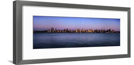 Moon over Midtown Manhattan Skyline at Dusk-Design Pics Inc-Framed Art Print