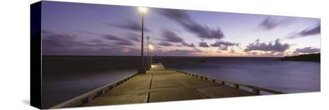 Pier and Coastline Just before Dawn-Design Pics Inc-Stretched Canvas Print