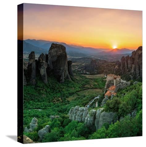 Historic Monasteries Built into Sandstone Pillars Overlook a Valley-Babak Tafreshi-Stretched Canvas Print