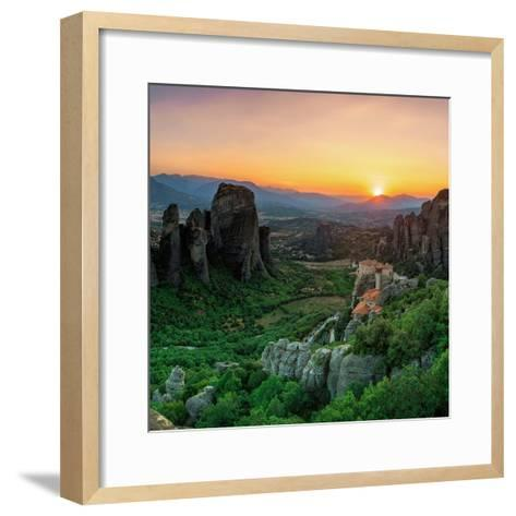 Historic Monasteries Built into Sandstone Pillars Overlook a Valley-Babak Tafreshi-Framed Art Print