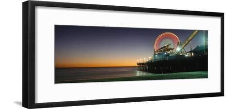 Ferris Wheel and Rollercoaster at Dusk on the Santa Monica Pier-Design Pics Inc-Framed Art Print