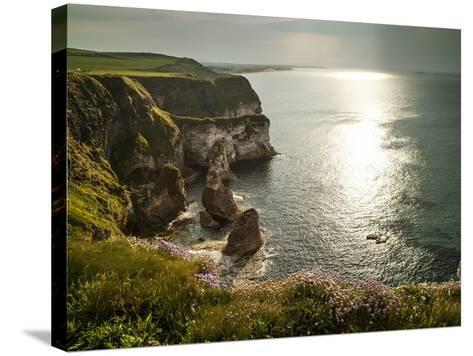Sunlight Strikes White Rocks at Portrush on the North Coast of Northern Ireland-Chris Hill-Stretched Canvas Print