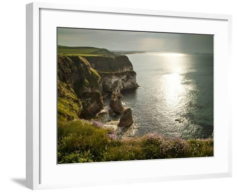 Sunlight Strikes White Rocks at Portrush on the North Coast of Northern Ireland-Chris Hill-Framed Art Print