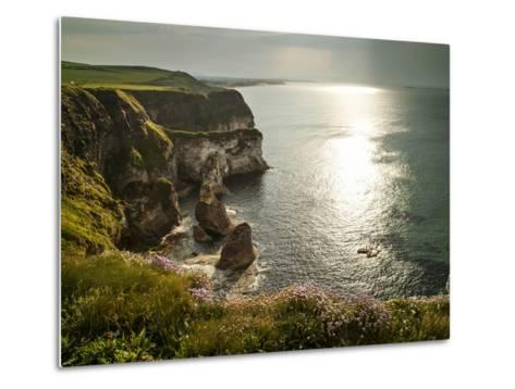 Sunlight Strikes White Rocks at Portrush on the North Coast of Northern Ireland-Chris Hill-Metal Print