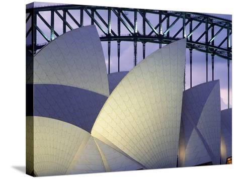 Looking over the Opera House to the Sydney Harbor Bridge, Close Up-Design Pics Inc-Stretched Canvas Print
