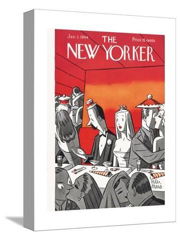 The New Yorker Cover - January 1, 1944-Peter Arno-Stretched Canvas Print