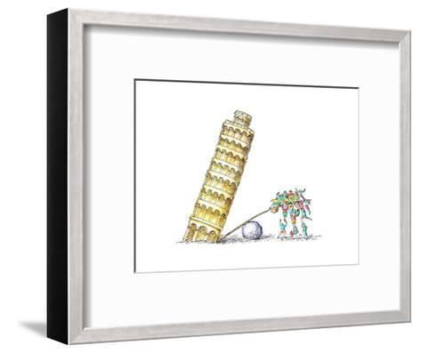 Tower of Pisa - Cartoon-John O'brien-Framed Art Print