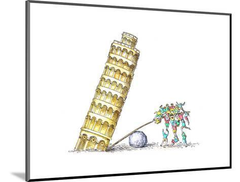 Tower of Pisa - Cartoon-John O'brien-Mounted Premium Giclee Print