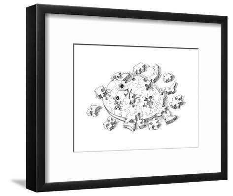 Puzzle - Cartoon-John O'brien-Framed Art Print