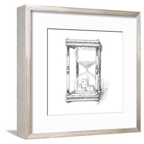 Hourglass and sandcastle - Cartoon-John O'brien-Framed Art Print