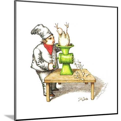 Cook grinding a chicken into smaller chickens. - Cartoon-John O'brien-Mounted Premium Giclee Print