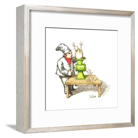 Cook grinding a chicken into smaller chickens. - Cartoon-John O'brien-Framed Art Print