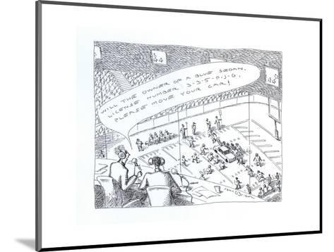 Car parked in the middle of a football field. - Cartoon-John O'brien-Mounted Premium Giclee Print