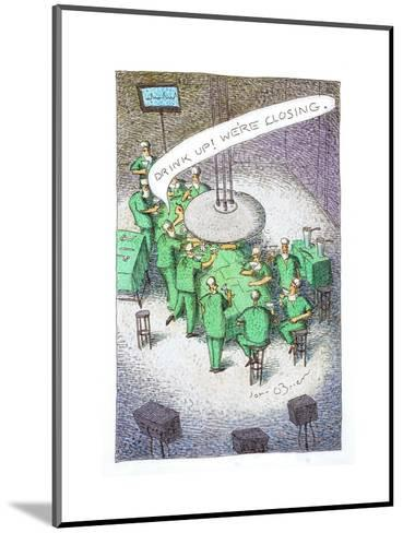 Doctors drinking at an operating table. - Cartoon-John O'brien-Mounted Premium Giclee Print