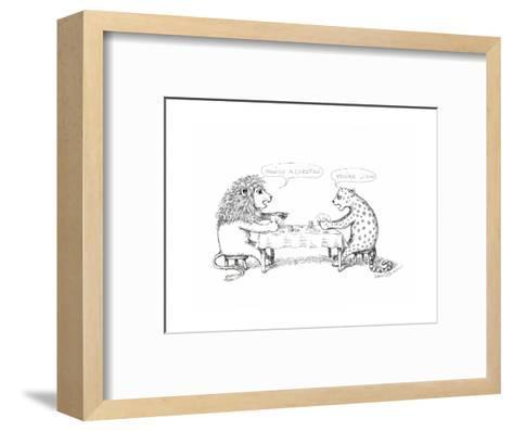 Cheetah and Lion playing cards - Cartoon-John O'brien-Framed Art Print