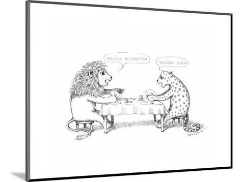 Cheetah and Lion playing cards - Cartoon-John O'brien-Mounted Premium Giclee Print