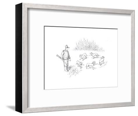 Pointer dogs blaming eachother - Cartoon-John O'brien-Framed Art Print