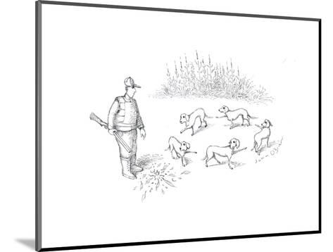 Pointer dogs blaming eachother - Cartoon-John O'brien-Mounted Premium Giclee Print