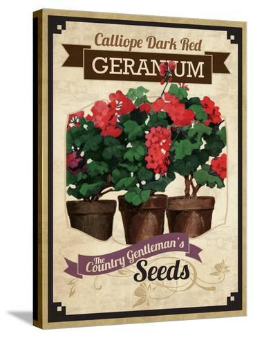 Vintage Geranium Seed Packet--Stretched Canvas Print