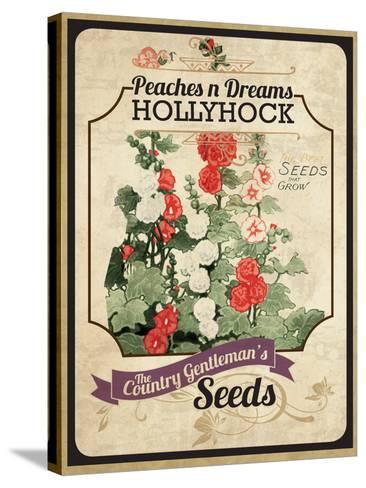 Vintage Hollyhock Seed Packet--Stretched Canvas Print