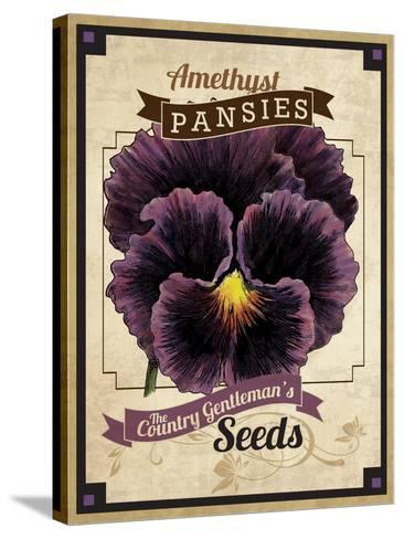 Vintage Pansies Seed Packet--Stretched Canvas Print