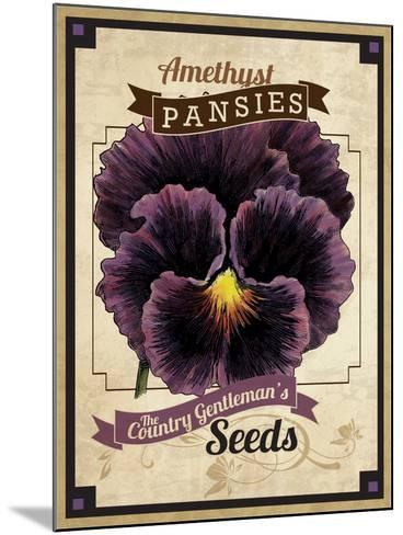 Vintage Pansies Seed Packet--Mounted Giclee Print