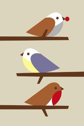 3 Birds-Dicky Bird-Stretched Canvas Print