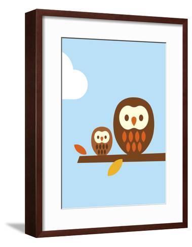 2 Owls-Dicky Bird-Framed Art Print