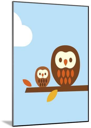 2 Owls-Dicky Bird-Mounted Giclee Print