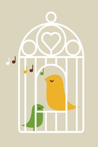 Singing Birds 2-Dicky Bird-Stretched Canvas Print