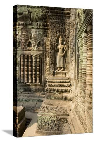 Stone Carvings of Apsara at Angkor Wat, Cambodia-Paul Souders-Stretched Canvas Print