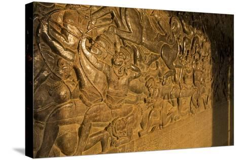 Stone Carvings at Angkor Wat, Cambodia-Paul Souders-Stretched Canvas Print