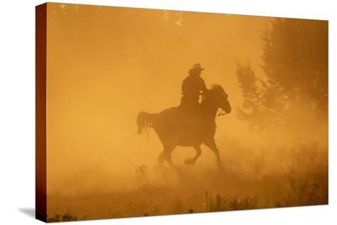 Cowgirl Riding in the Dust-DLILLC-Stretched Canvas Print