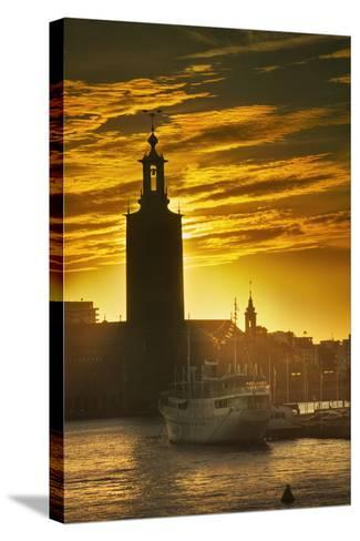 Sunset behind Stadshuset Bell Tower in Stockholm-Jon Hicks-Stretched Canvas Print