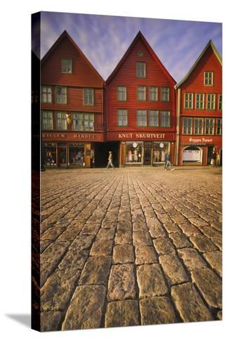 Row Houses in Bryggen-Jon Hicks-Stretched Canvas Print