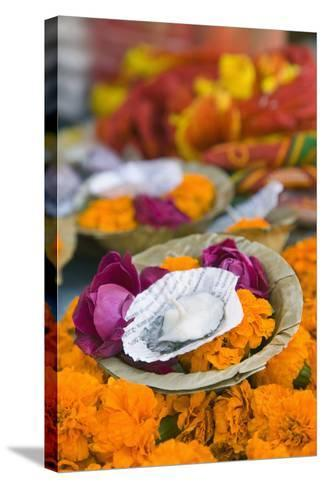 Flowers and Candle to Be Released during Ganga Aarti Ceremony-Jon Hicks-Stretched Canvas Print