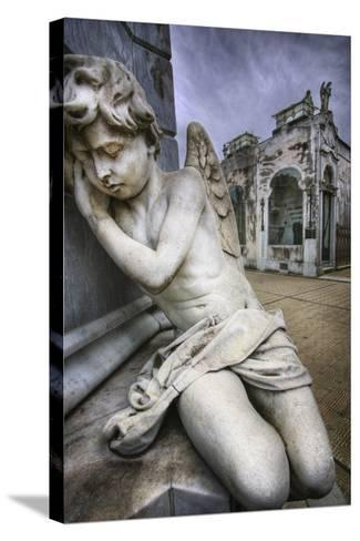 Angel Sculpture in Recoleta Cemetery in Buenos Aires-Jon Hicks-Stretched Canvas Print