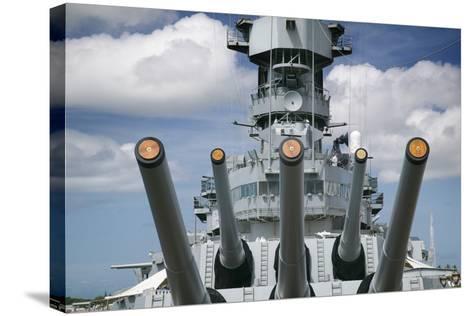 Gun Turret on the Battleship Missouri-Jon Hicks-Stretched Canvas Print