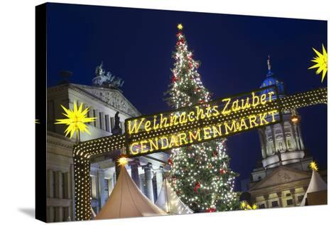 Lighted Sign at Gendarmenmarkt Christmas Market-Jon Hicks-Stretched Canvas Print