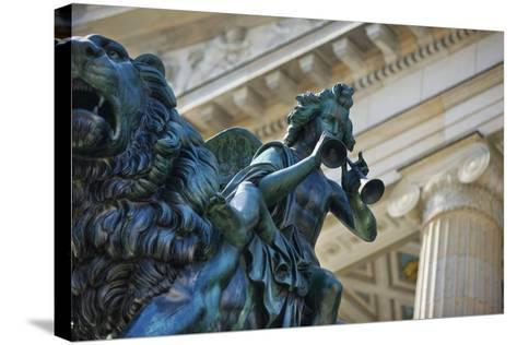 Detail of Statue of a Piper Riding a Lion outside the Konzerthaus-Jon Hicks-Stretched Canvas Print