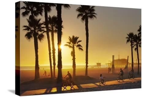 The South Bay Bicycle Trail at Sun Set.-Jon Hicks-Stretched Canvas Print