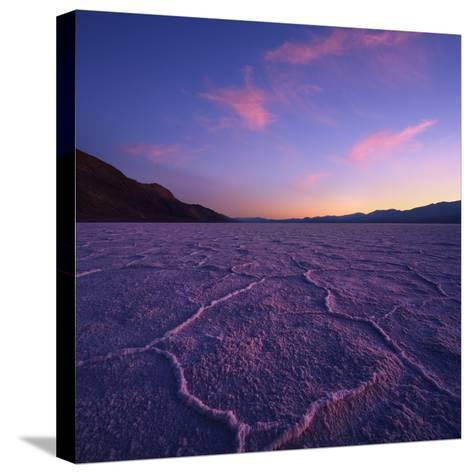 Badwater Basin at Dusk.-Jon Hicks-Stretched Canvas Print
